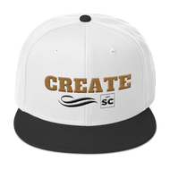 white hat with a black brim and gold letters that spell create