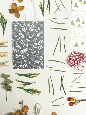 Holiday Branches, in Midnight — Set of 6 Gift Tags