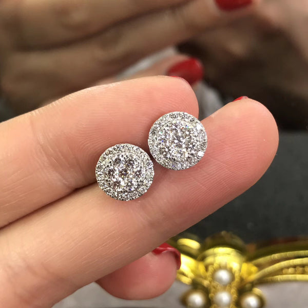 -NEW2018- Group Diamond Earrings Big Effect (2ct effect) - Hearts & Diamonds