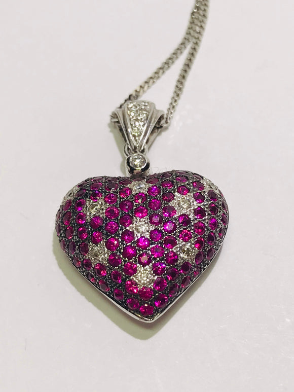 Le Vian Designer 14k White Gold Ruby and Diamond Heart Pendant with Chain Necklace
