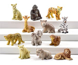 Mini Garden Safari Animals - Set of 12 - With or Without Display Base - MyFairyGardens.com