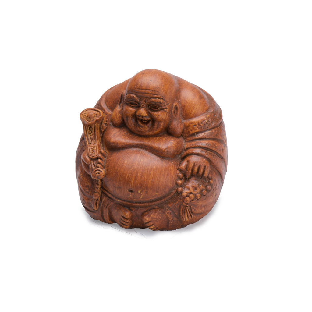 Laughing Buddha - Wood Finish - MyFairyGardens.com