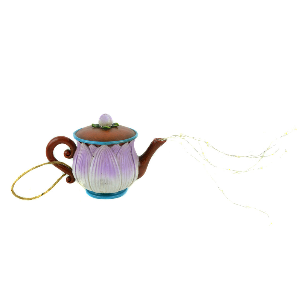 Hangable Purple Tea Pot - MyFairyGardens.com