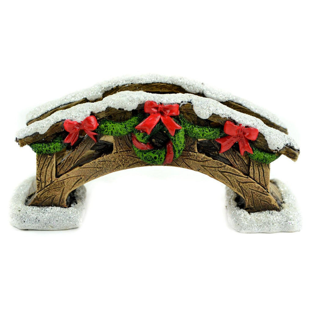 Christmas Bridge With Snow And Wreath - MyFairyGardens.com