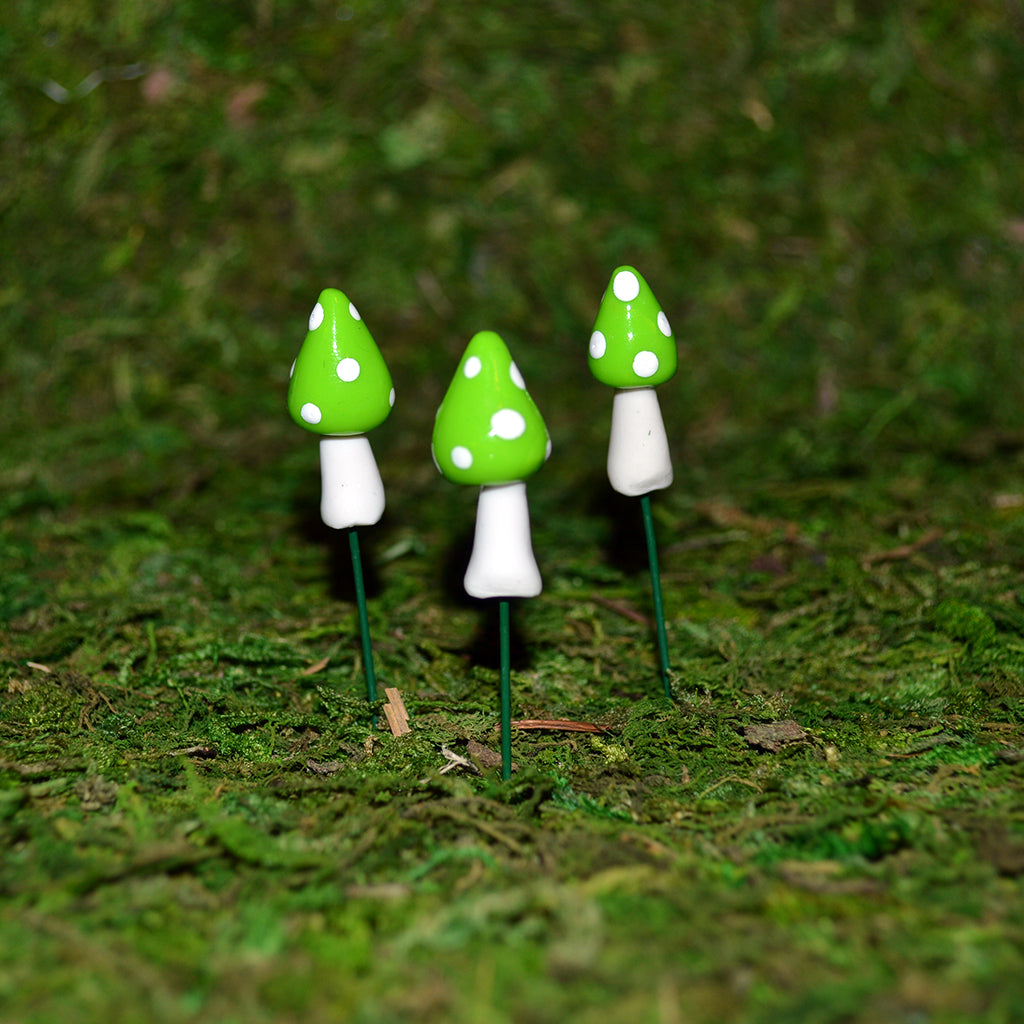 Pointy Mushrooms - Set of 3 - Green - MyFairyGardens.com