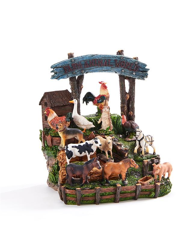 Mini Garden Farmyard Animals - Set of 12 - With or Without Display Base - MyFairyGardens.com