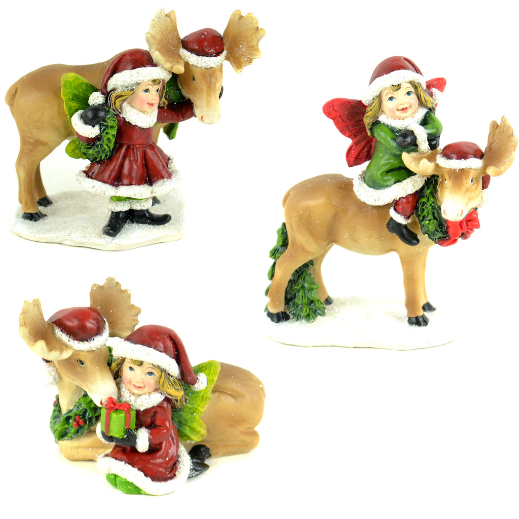 Christmas Fairies With Moose - Set of 3