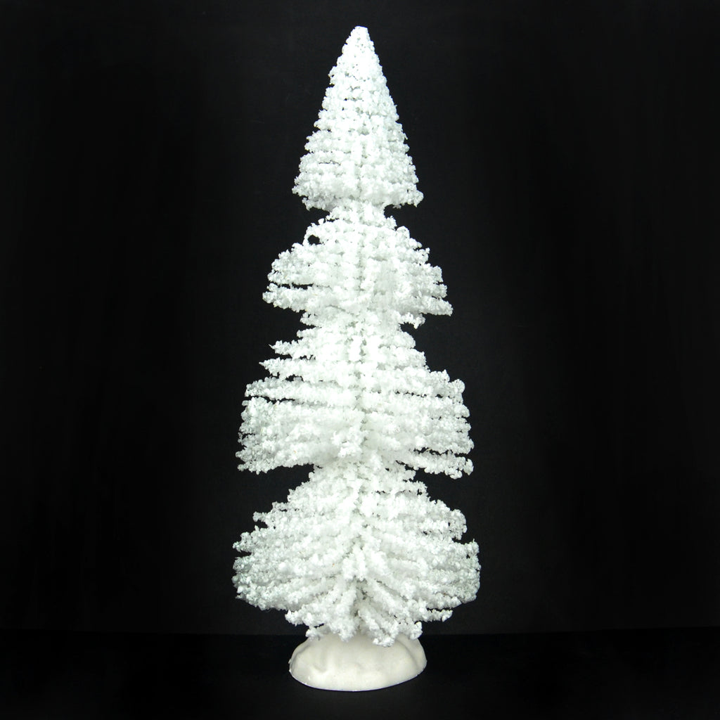 "9"" White Bottle Brush Twisted Tree With Snow"