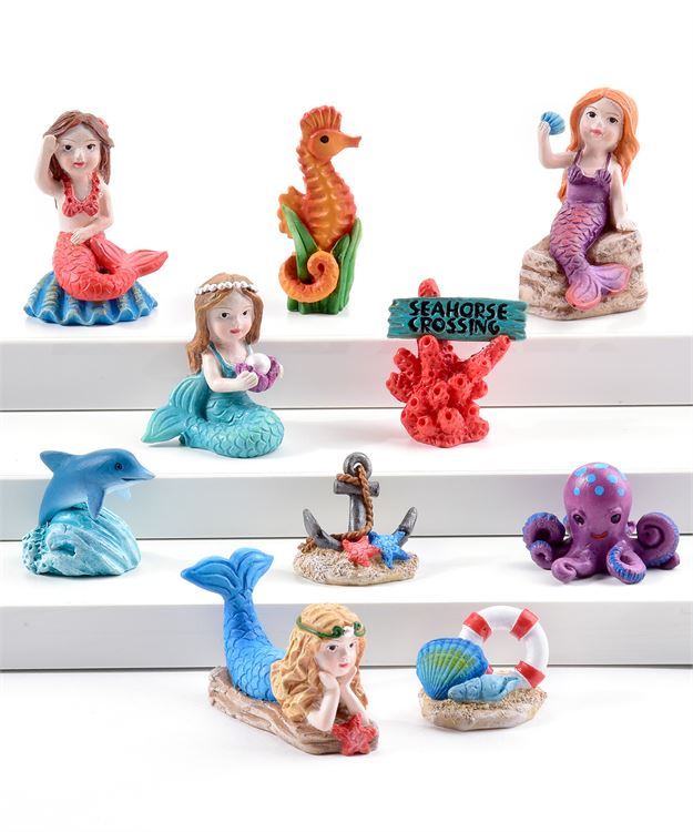 Mermaids And Sea Creatures - Set of 10 - With or Without Display Base - MyFairyGardens.com