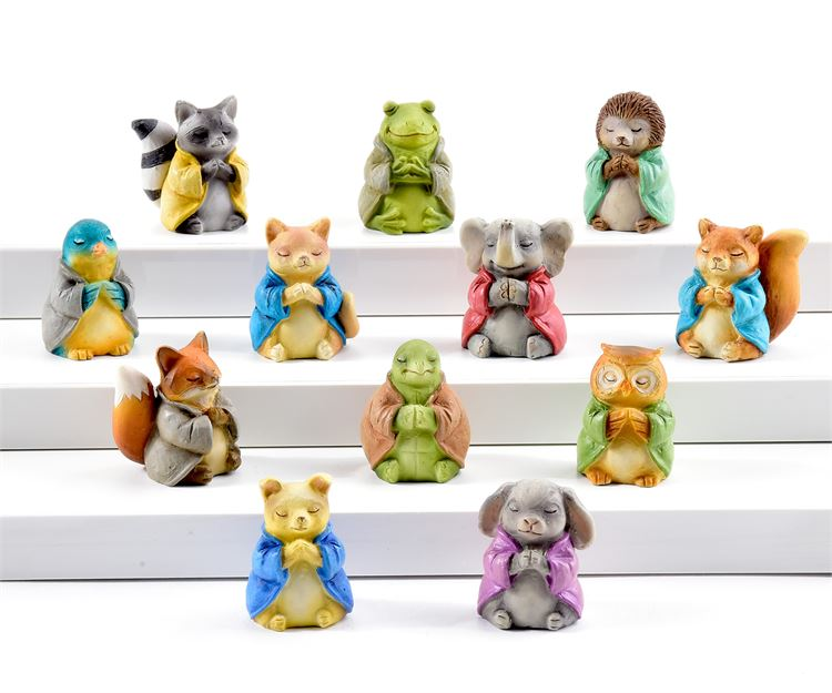 Mini Animal Buddhas - Set of 12 - With or Without Display Base - MyFairyGardens.com