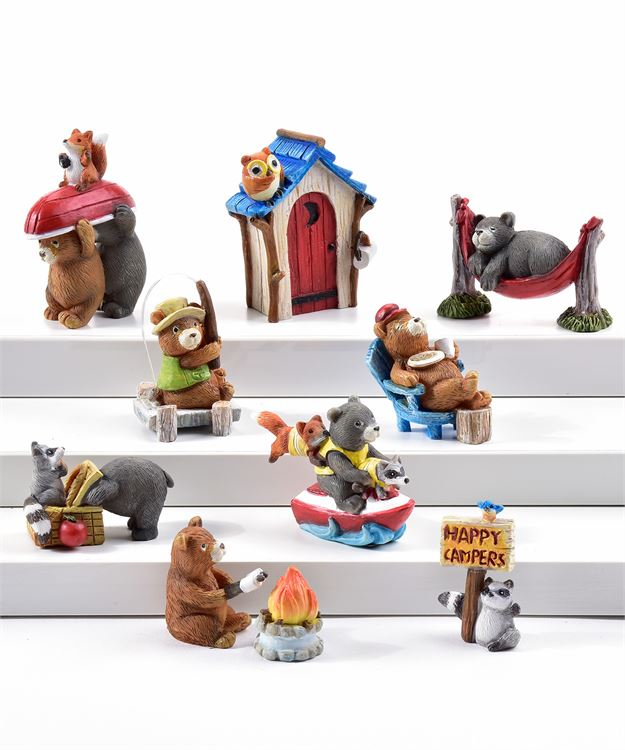 Camping Mini Bears - Set of 10 - With or Without Display Base - MyFairyGardens.com