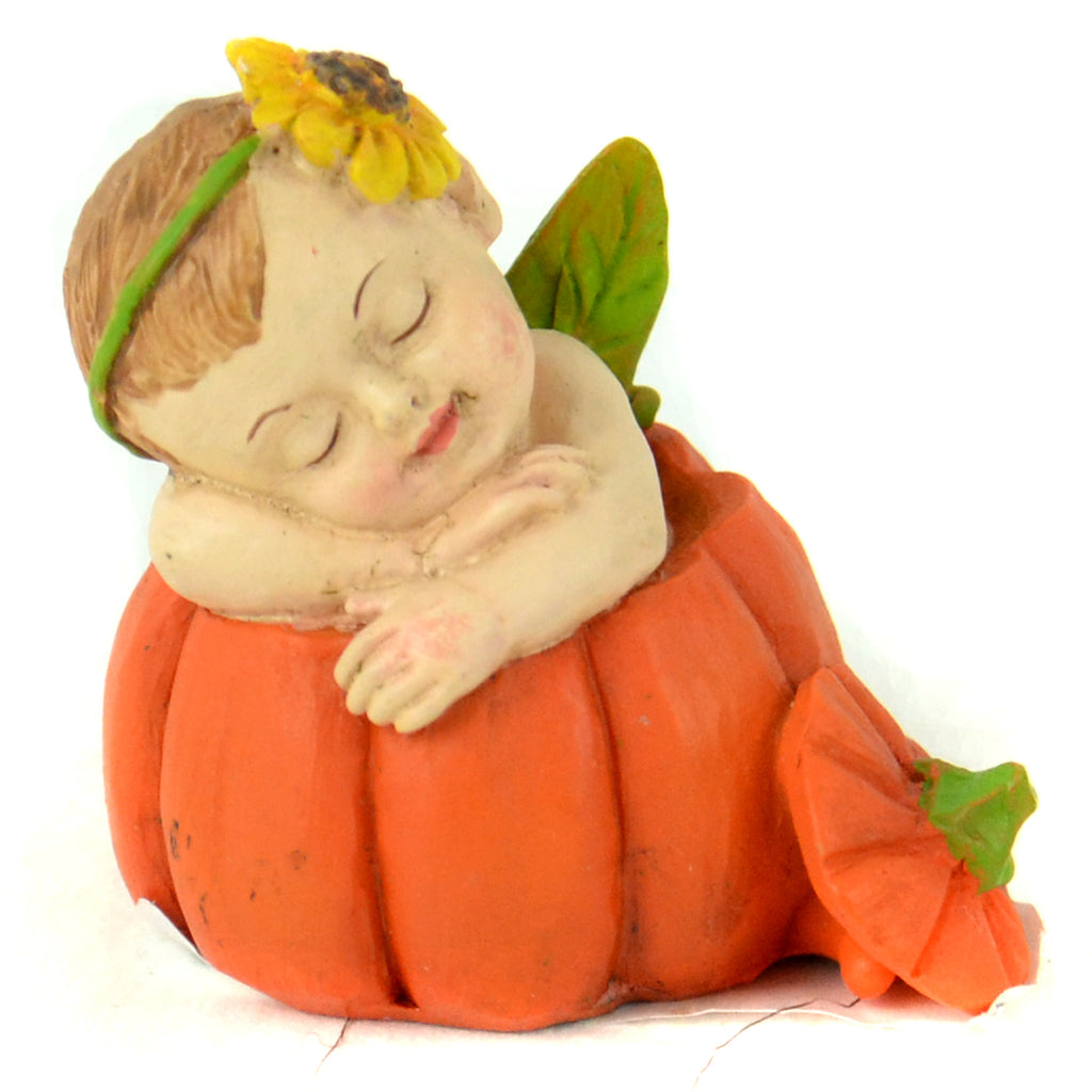 Fall Baby Sleeping In Pumpkin - MyFairyGardens.com