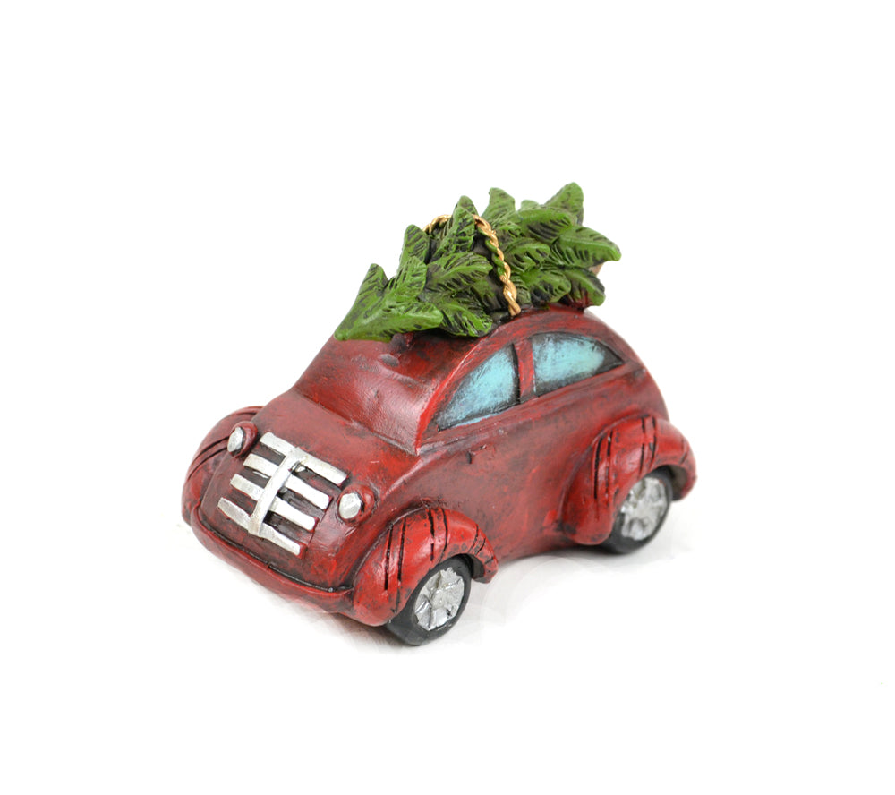 Red Car with Christmas Tree - MyFairyGardens.com