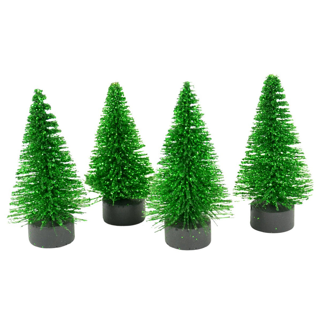 Artificial Green Glitter Pine Trees - Set of 4 - MyFairyGardens.com