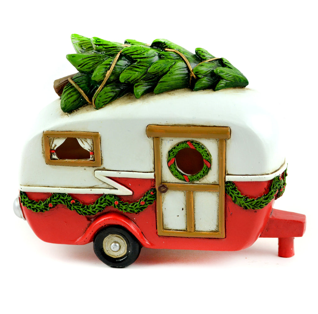 Christmas LED Red Camper - MyFairyGardens.com