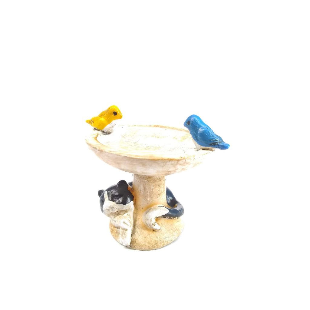 Sleepy Kitty Birdbath - MyFairyGardens.com