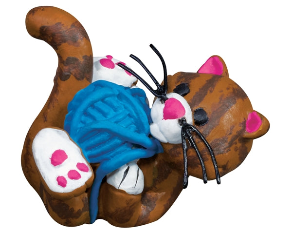 Playful Cat with Yarn - MyFairyGardens.com