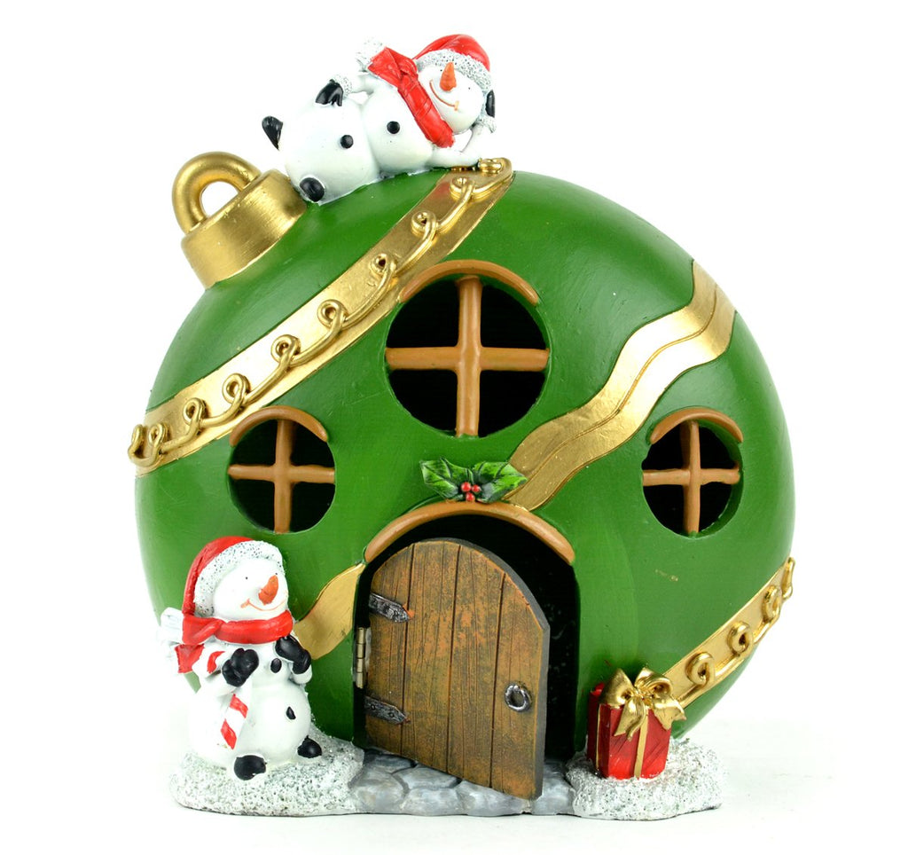 Fairy Garden-Christmas Green Ornament House LED-Christmas/Winter-Midwest Design-MyFairyGardens