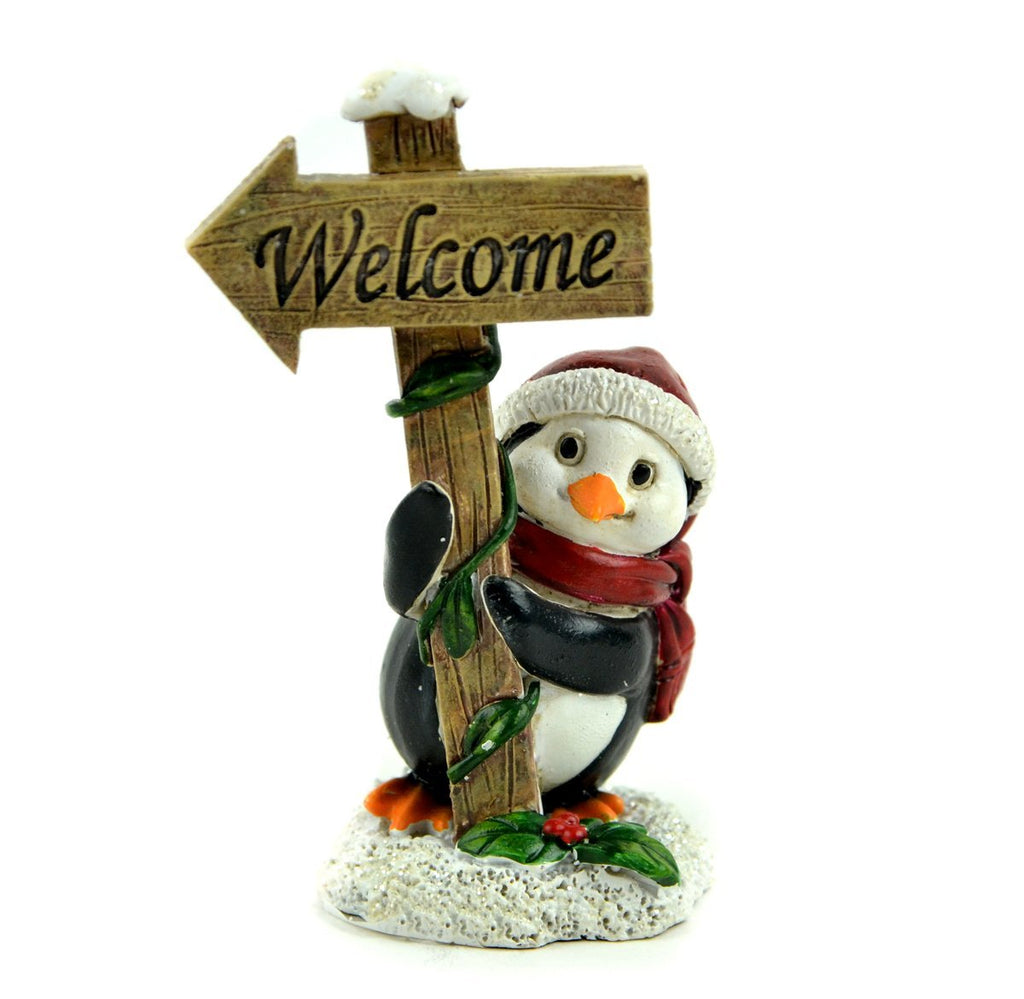 Christmas Welcome Sign with Penguin - MyFairyGardens.com