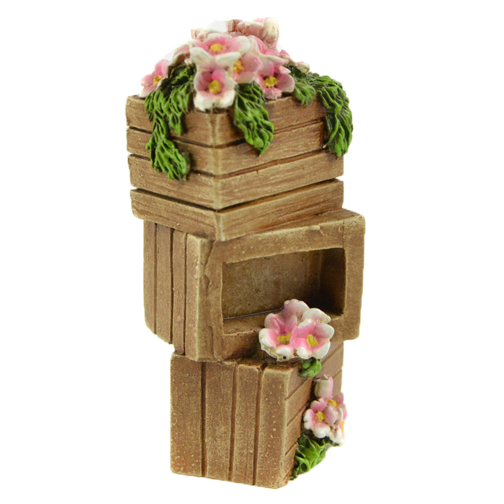 Stacked Crates With Flowers - MyFairyGardens.com