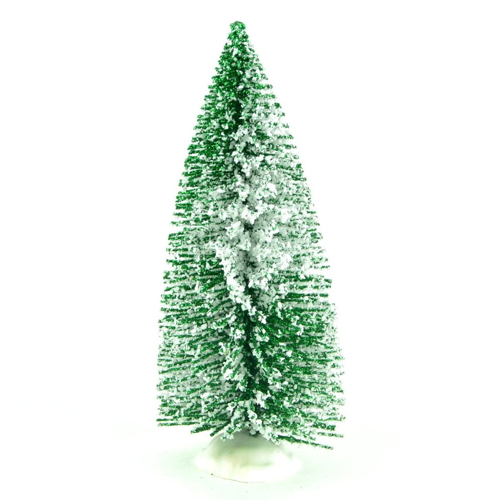 Green Glitter Bottle Brush Tree With Snow - MyFairyGardens.com