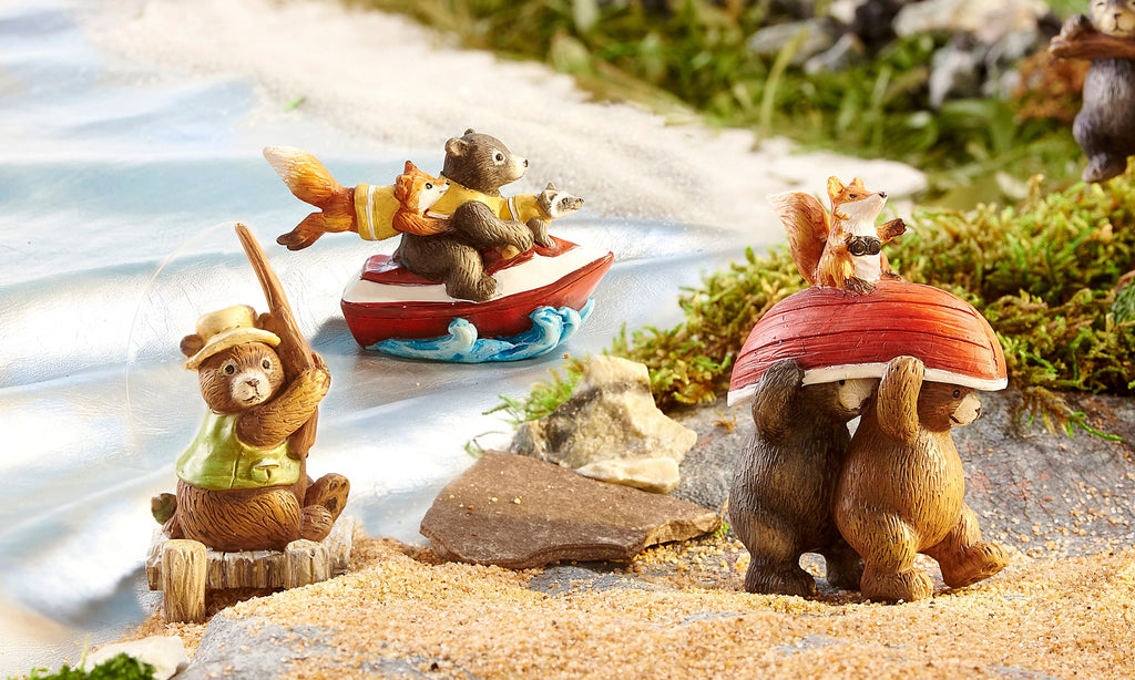 Fairy Garden-Happy Campers - Camping Activity Bears - Set of 3-New-GiftCraft-MyFairyGardens