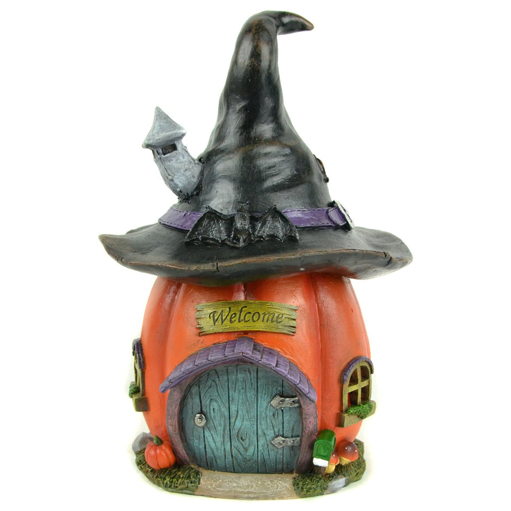 Led Pumpkin Witch Hat House - MyFairyGardens.com