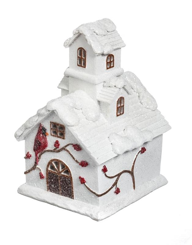 Fairy Garden-Light Up Cardinal House-Christmas/Winter-New Creative-MyFairyGardens