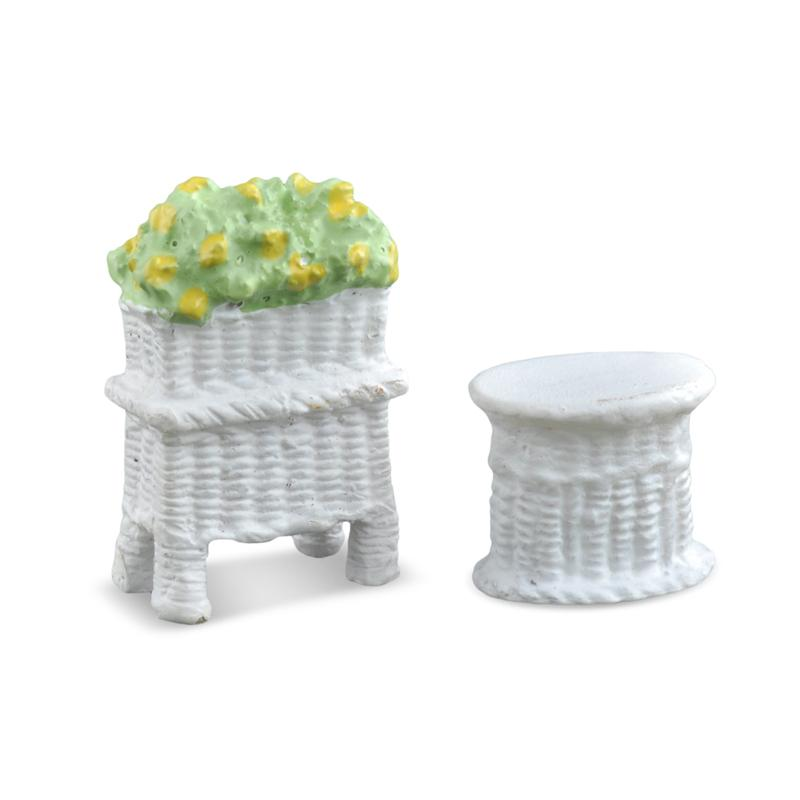 Micro Mini Wicker Table and Planter - MyFairyGardens.com