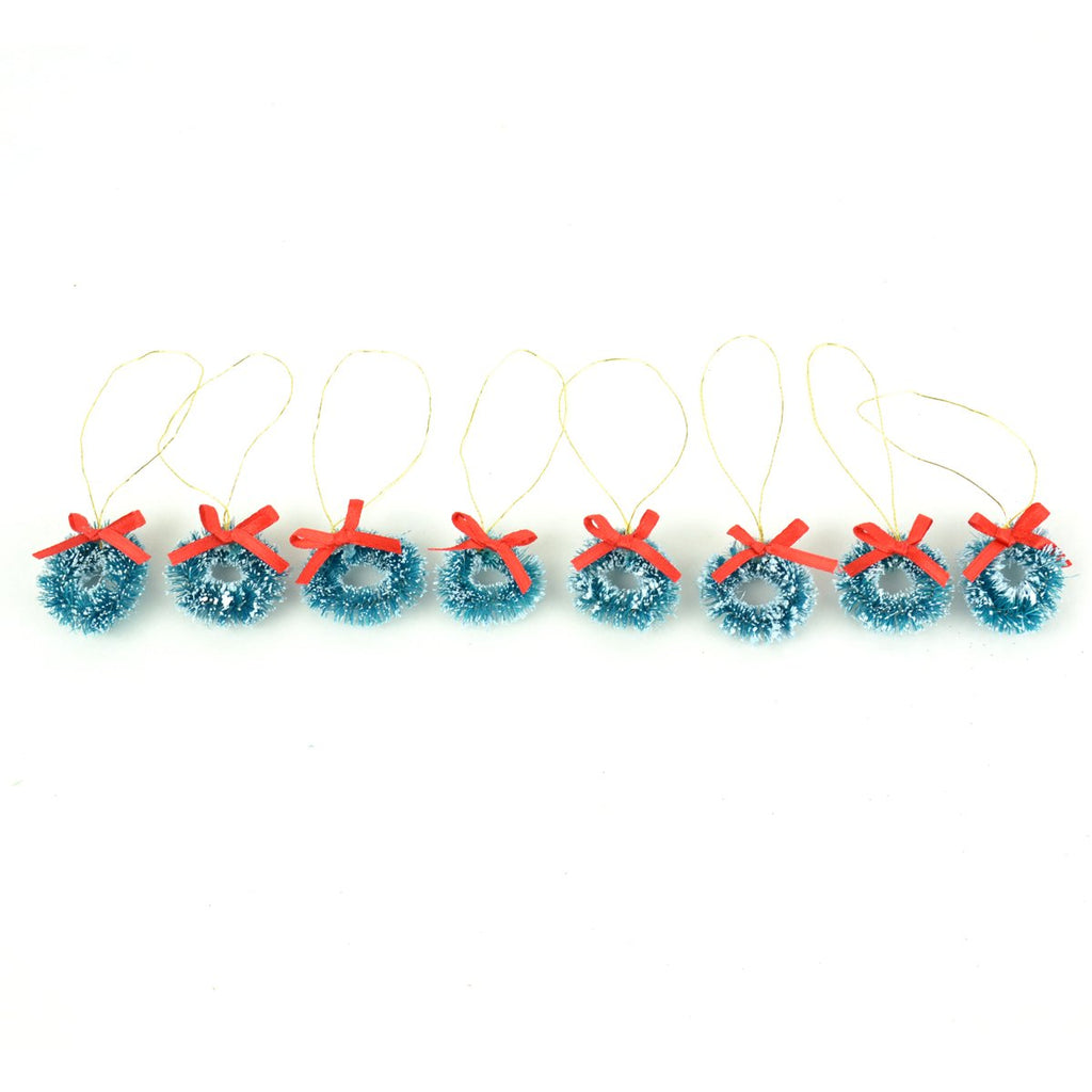 Mini Wreaths With Red Ribbon - Set of 8 - MyFairyGardens.com