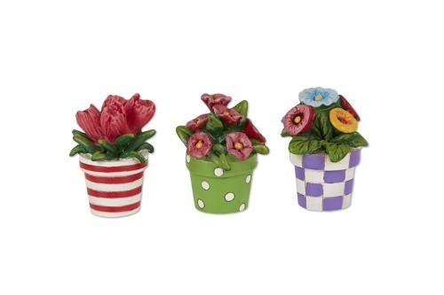 Patterned Potted Flowers - Set of 3 - MyFairyGardens.com