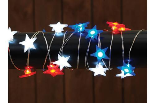 Red, White And Blue Patriotic Star LED Lights 40 Inches - MyFairyGardens.com