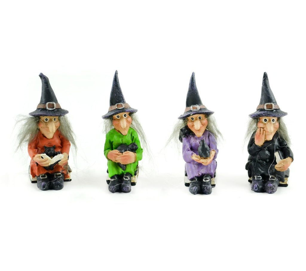 Sitting Witches - Set of 4 - MyFairyGardens.com
