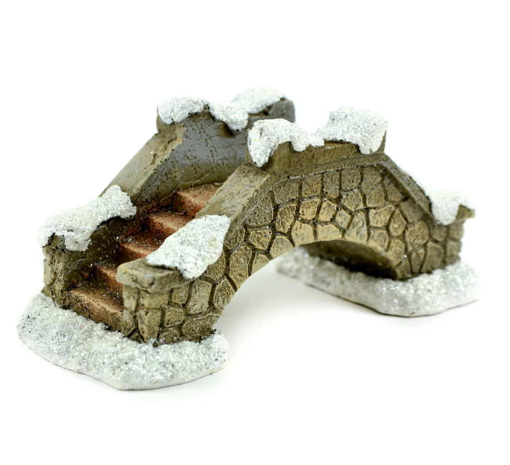 Snow Covered Christmas Stone Bridge - MyFairyGardens.com