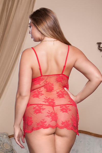 Sheer Lace Soft Cup Chemise 8319X-RED-B