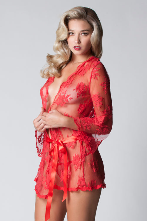 Sheer Lace Robe 7815 Red front