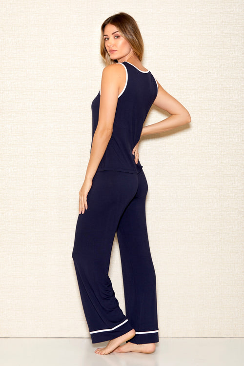 Soft Navy Blue Camisole and Pant Set ICollection Back 7805