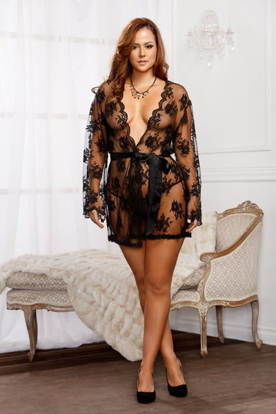 Sheer Lace Robe 7815X-BLAC-F