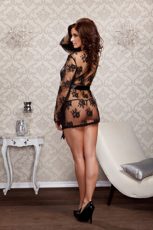 Sheer Lace Robe  7815-BLAC-B