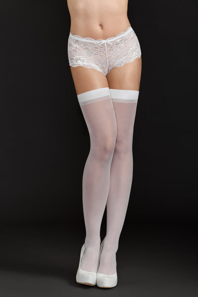 Sheer Thigh Highs by iCollection Lingerie 8600-WHIT-F
