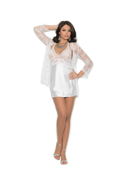 Satin Chemise with Lace Robe Elegant Moments 4246