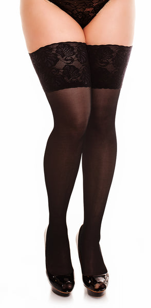 "Lace Thigh High Stockings ""Deluxe 20"" by Glamory 50111 Plus Black"