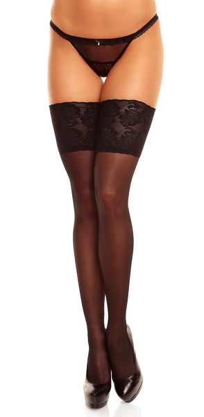 "Lace Thigh High Stockings ""Deluxe 20"" by Glamory 50111 Black"