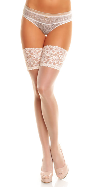 "Lace Thigh High Stockings ""Deluxe 20"" by Glamory 50111 Champagne"