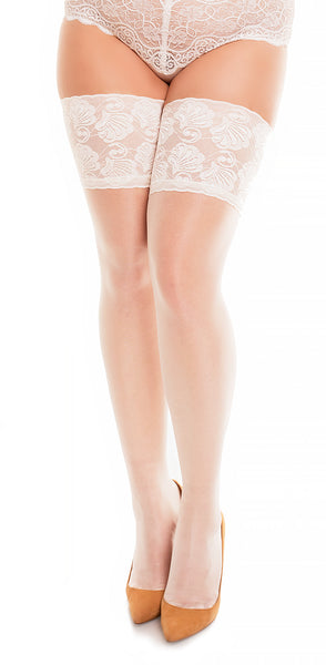 "Lace Thigh High Stockings ""Deluxe 20"" by Glamory 50111 Plus Champagne"