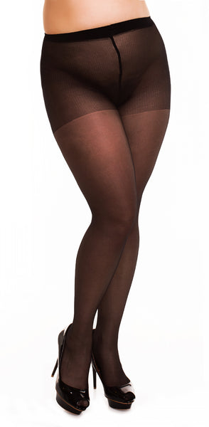 Satin Transparent Tights by Glamory 50122 Plus Black
