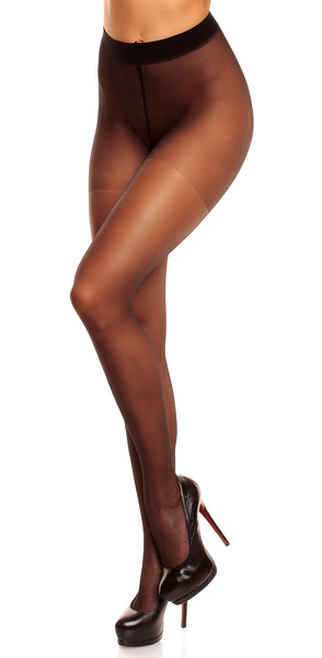 Satin Transparent Tights by Glamory 50122 Small Black