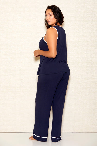 Soft Navy Blue Camisole and Pant Set ICollection Plus Size Back 7805X