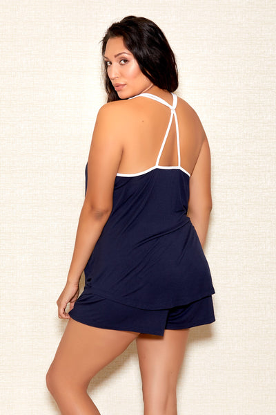 Soft Navy Blue Camisole Short Set Icollection Plus Size Back 7803X