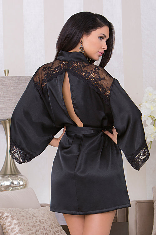 Black Satin Robe with Peek-A-Boo Back icollection 7829